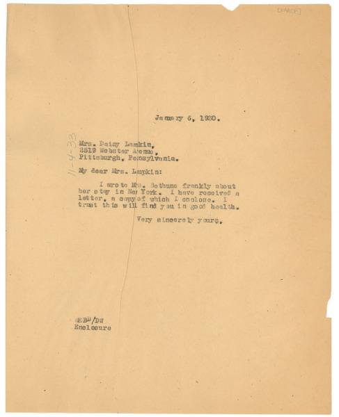 Letter from W. E. B. Du Bois to Daisy Lampkin, January 6, 1930
