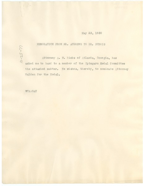 Memorandum from W. T. Andrews to W. E. B. Du Bois, May 23, 1930