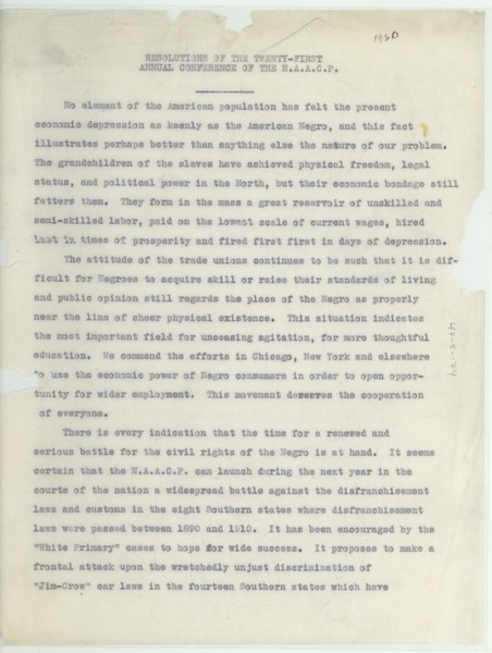 Resolutions of the Twenty-First Annual Conference of the N.A.A.C.P., ca. July 1930