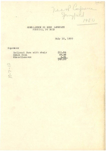 Memorandum from W. E. B. Du Bois to Miss Randolph, July 10, 1930