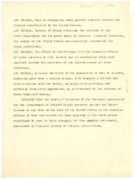 Revised statement on the N.A.A.C.P.'s Position on Cuba, ca. December 29, 1930