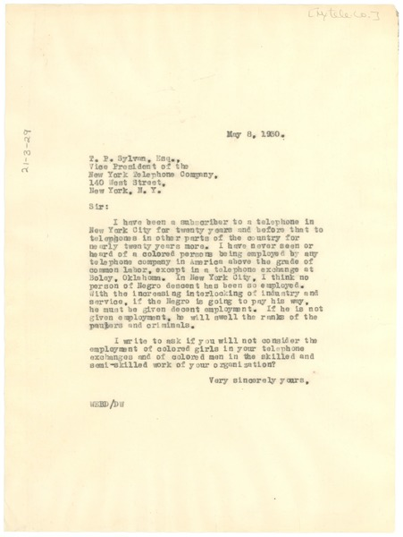 Letter from W. E. B. Du Bois to the New York Telephone Company, May 8, 1930