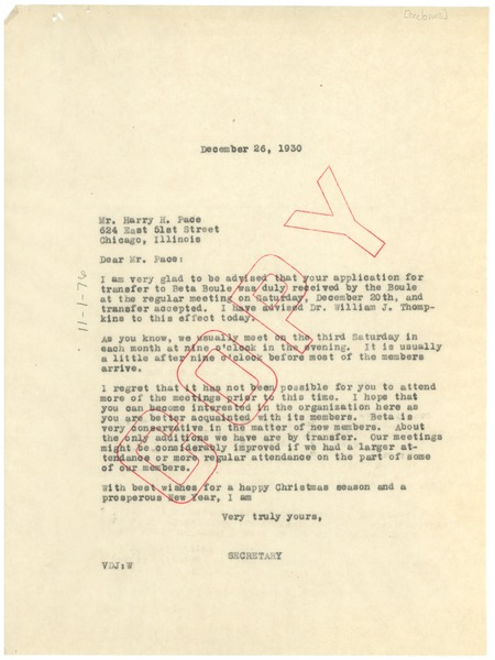 letter from sigma pi phi, beta boulé to harry h. pace, december 26, 1930
