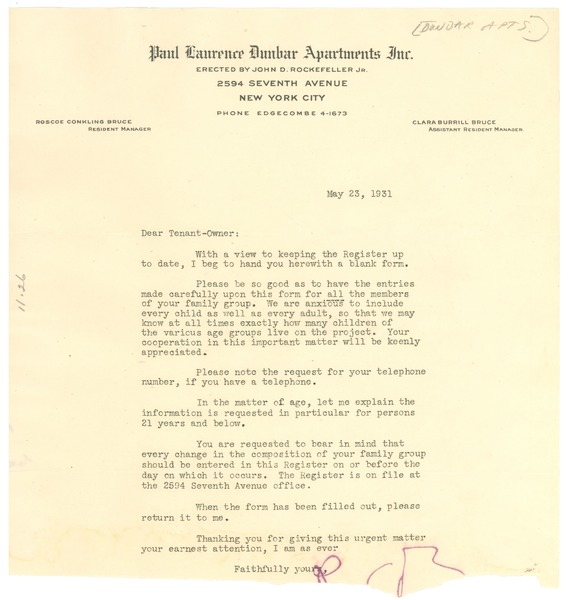 Circular letter from The Paul Laurence Dunbar Apartments, Inc. to W. E. B. Du Bois, May 23, 1931