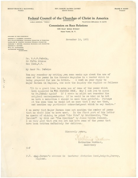 Letter from Federal Council of the Churches of Christ in America to W. E. B. Du Bois, November 19, 1931