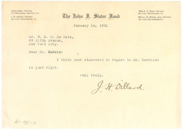 Letter from J. H. Dillard to W. E. B. Du Bois, January 14, 1931