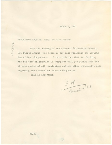 Memorandum from Walter White to Daisy Wilson, March 2, 1931