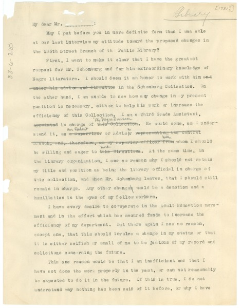 Memorandum from W. E. B. Du Bois to New York Public Library, December 22, 1931