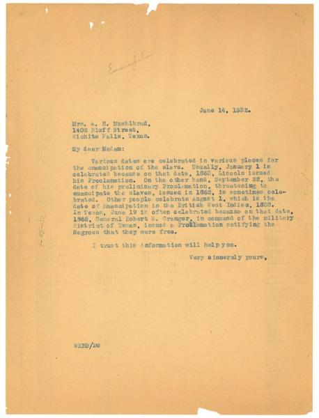 Letter from W  E  B  Du Bois to A  H  Muehlbrad, June 14, 1932