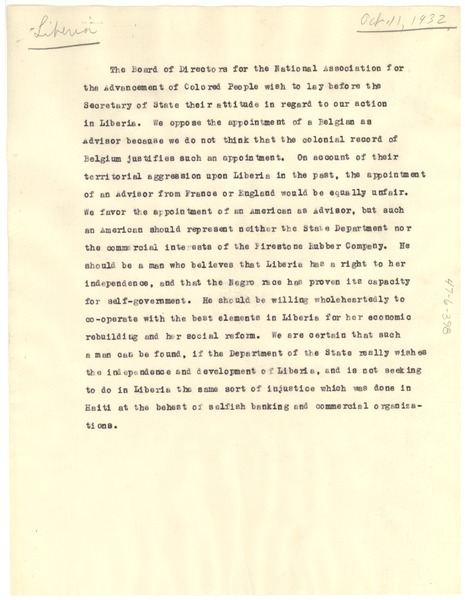 Draft of letter from NAACP Board of Directors to Secretary of State, ca. October 11, 1932