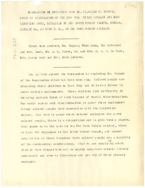 Memorandum of interview between W. E. B. Du Bois and New York Public Library, January 13, 1932