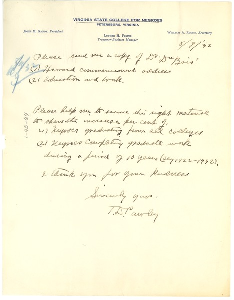 Letter from Virginia State College for Negroes to undisclosed recipient, August 9, 1932