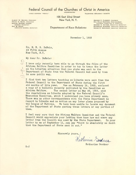 Letter from Federal Council of the Churches of Christ in America, Department             of Race Relations to W. E. B. Du Bois, November 1, 1933
