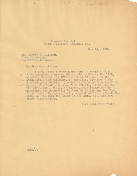 Letter from W. E. B. Du Bois to Fisk University , May 18, 1933