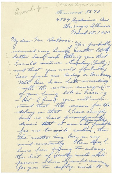 Letter from Mildred Bryant Jones to W. E. B. Du Bois, March 28, 1933