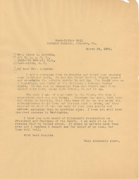 Letter from W. E. B. Du Bois to Daisy Lampkin, March 29, 1933