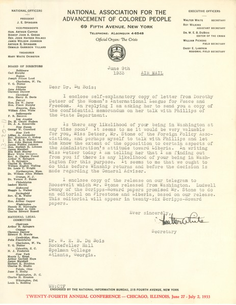 Letter from Walter White to W. E. B. Du Bois, June 9, 1933