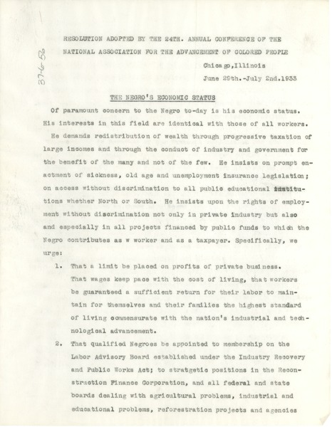 NAACP resolution adopted by the 24th. annual conference of the National Association       for the Advancement of Colored People, July 2, 1933