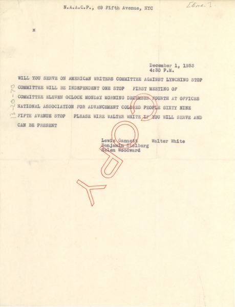 Telegram from NAACP to unidentified correspondent, December 1, 1933
