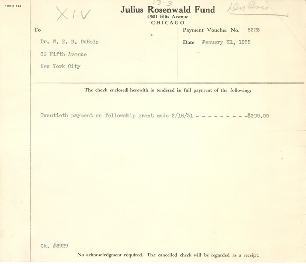Payment voucher from Julius Rosenwald Fund to W. E. B. Du Bois, January 31, 1933
