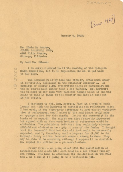 Letter from W. E. B. Du Bois to Edwin R. Embree, January 6, 1934
