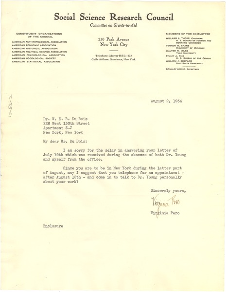 Letter from Social Science Research Council to W. E. B. Du Bois, August 2, 1934