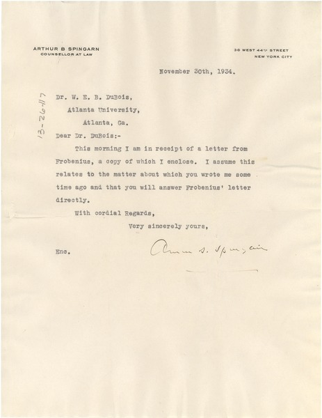 Letter from Arthur B. Spingarn to W. E. B. Du Bois, October 9, 1934