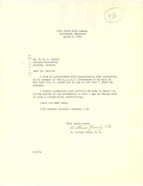 Letter from N. Louise Young to W. E. B. Du Bois, March 8, 1934