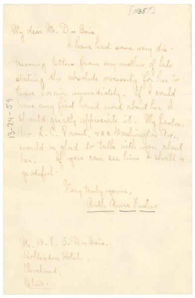 Letter from Ruth Anna Fisher to W. E. B. Du Bois, ca. 1935