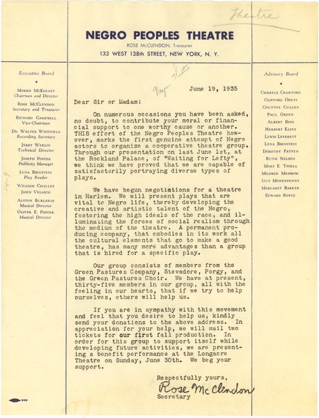 Circular letter from Negro Peoples Theatre, June 19, 1935