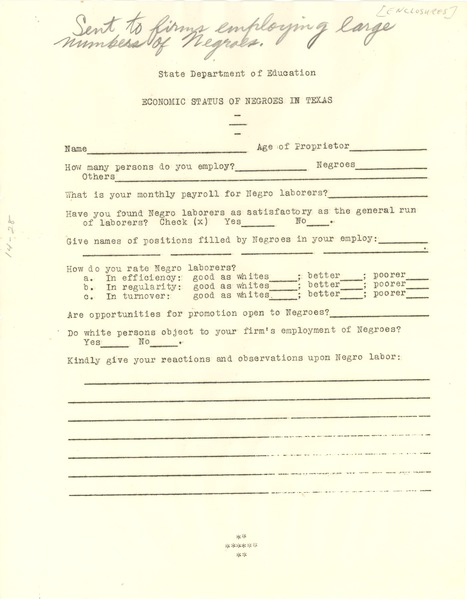 Questionnaire on economic status of Negroes in Texas, ca. 1935