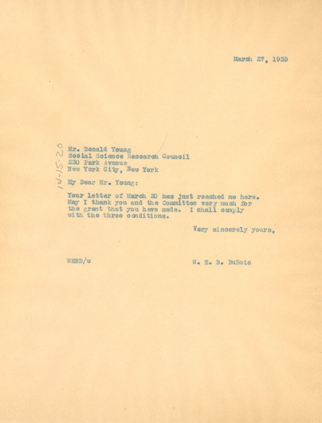 Letter from W. E. B. Du Bois to Social Science Research Council, March 27, 1935
