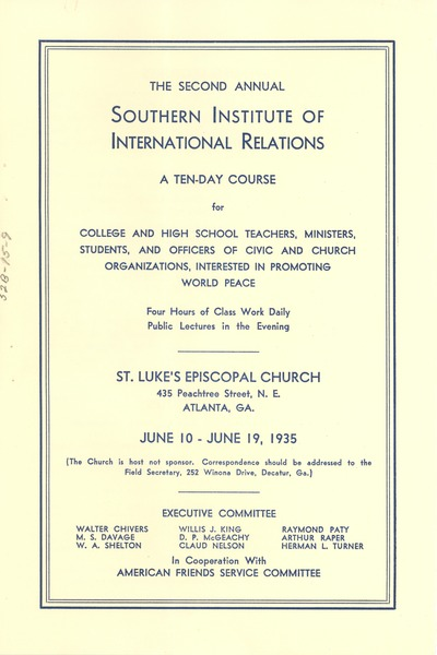 Southern Institute of International Relations Program, ca. April 1935