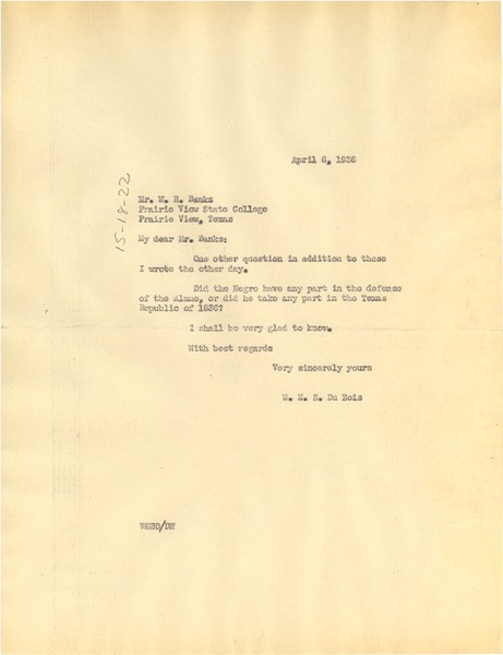 Letter from W. E. B. Du Bois to W. R.  Banks, April 6, 1936