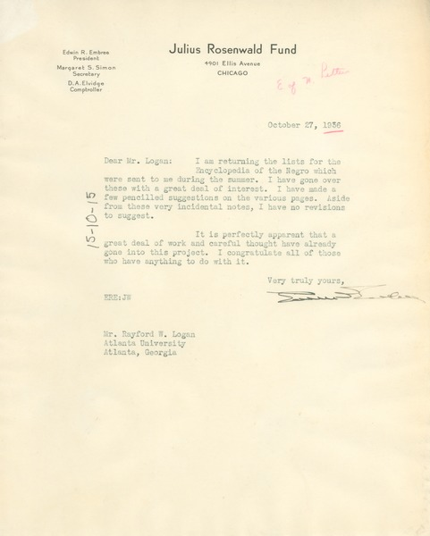 Letter from Edwin R. Embree to Rayford W. Logan, October 27, 1936