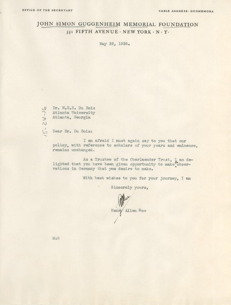Letter from John Simon Guggenheim Memorial Foundation to W. E. B. Du Bois, May 28, 1936