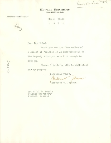Letter from Mordecai W. Johnson to W. E. B. Du Bois, March 6, 1936