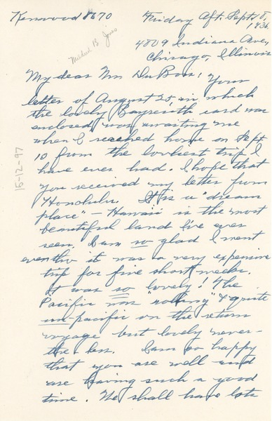 Letter from Mildred Bryant Jones to W. E. B. Du Bois, September 10, 1936