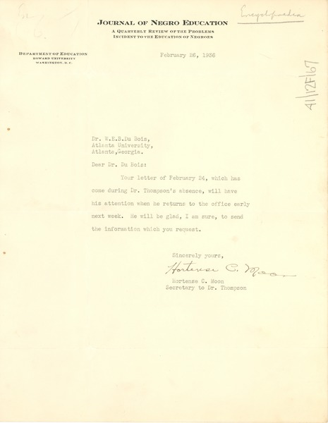 Letter from Journal of Negro Education to W. E. B. Du Bois, February 26, 1936