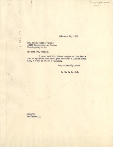 Letter from W. E. B. Du Bois to Anson Phelps Stokes, February 28, 1936