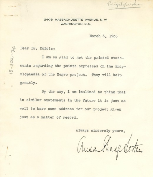 Letter from Anson Phelps Stokes to W. E. B. Du Bois, March 3, 1936