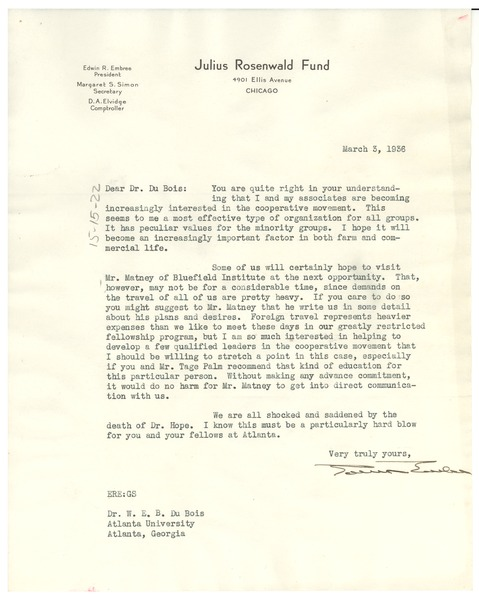 Letter from Julius Rosenwald Fund to W. E. B. Du Bois, March 3, 1936
