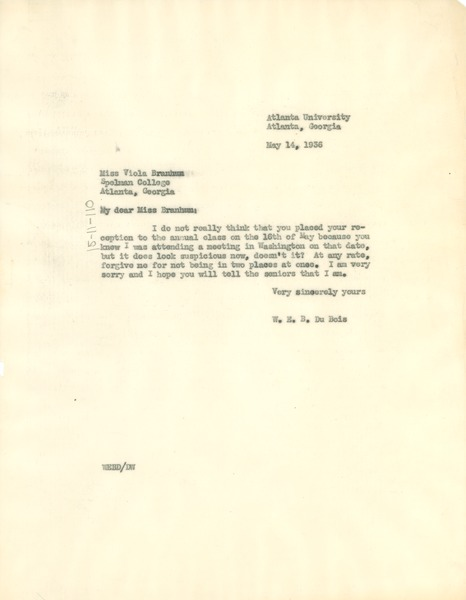 Letter from W. E. B. Du Bois to Spelman College, May 14, 1936
