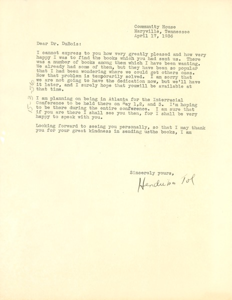 Letter from Hendrika Tol to W. E. B. Du Bois, April 17, 1936