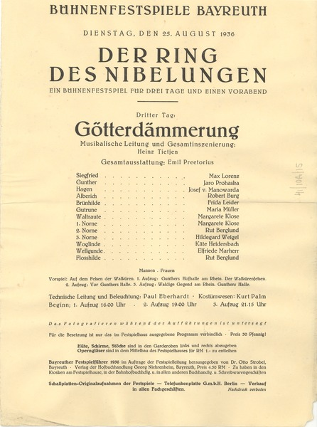 Der Ring Des Nibelungen program: Götterdämmerung: , August 25, 1936