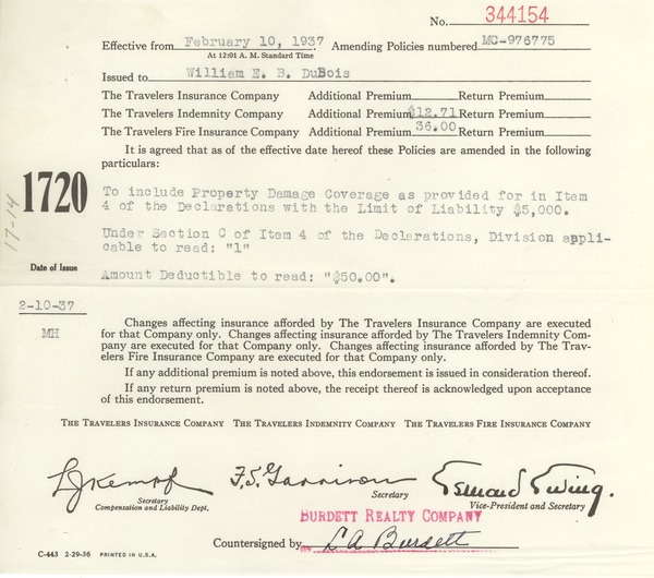 Travelers automobile policy number MC 976775 amendment, February 10, 1937