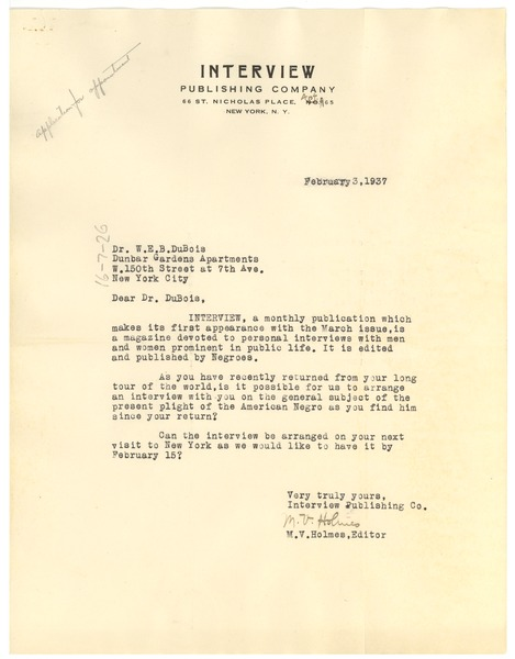 Letter from International Missionary Council to W. E. B. Du Bois, February 3, 1937