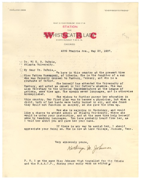 Letter from Kathryn M. Johnson to W. E. B. Du Bois, May 22, 1937