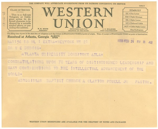 Telegram from A. Clayton Powell Jr. to W. E. B. Du Bois, February 21, 1938