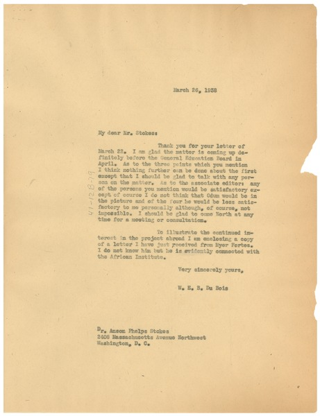 Letter from W. E. B. Du Bois to Anson Phelps Stokes, March 26, 1938